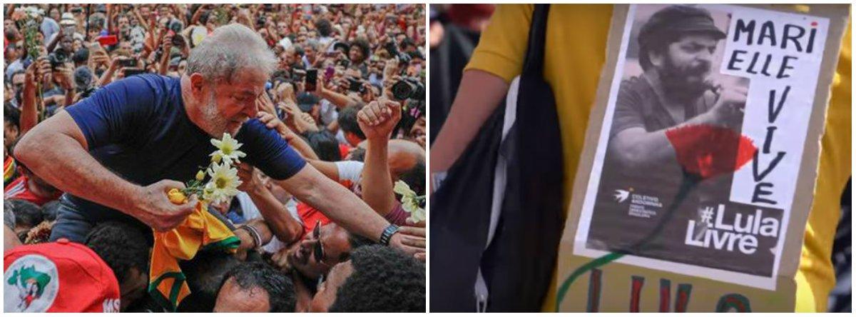 No aniversário da Revolução dos Cravos, que pôs fim ao regime ditatorial em Portugal, manifestantes também pediram a liberdade do ex-presidente Lula, preso em Curitiba (PR); desde o último dia 7, quando ele se entregou à Polícia Federal, os atos contra a prisão já ocorreram em países como Inglaterra, México, França e Espanha