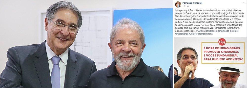"""O governador Fernando Pimentel inovou ao postar uma foto, no Face, ao lado de Lula para arrecadar recursos para a sua campanha; no texto, ele diz que """"Na luta contra o golpe é importante destacar instrumentos ao nosso alcance. Um deles é o partido. A luta dos que buscam o retorno democrático só será possível se unirmos forças. Quero ressaltar a importância das doações para consigamos fazer história"""""""