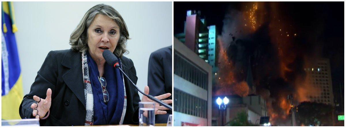 """A deputada Erika Kokay (PT-DF) criticou o governo de Michel Temer, após o desabamento de um prédio no centro da cidade de São Paulo; """"Trabalhadores e trabalhadoras sem teto não podem ser responsabilizados por prédio que desaba em SP. A culpa é do Estado, do governo ilegítimo de Temer q promoveu cortes profundos no Minha Casa Minha Vida. Quando morar é um privilégio, ocupar é um direito!"""", disse"""