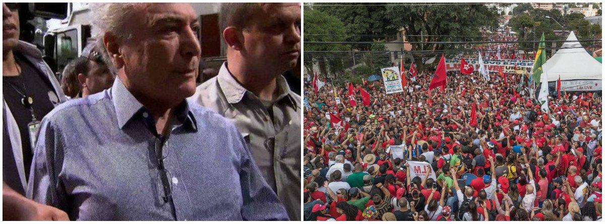 """Manhã de primeiro de maio, milhares de pessoas dão bom dia ao ex-presidente Lula, em Curitiba. """"Bom dia, Presidente Lula!"""" Enquanto isso, em São Paulo, uma multidão vaia Temer, chamando-o de ladrão e vagabundo. """"Vai embora, vagabundo... ladrão..."""" Eis a síntese do Brasil de hoje"""