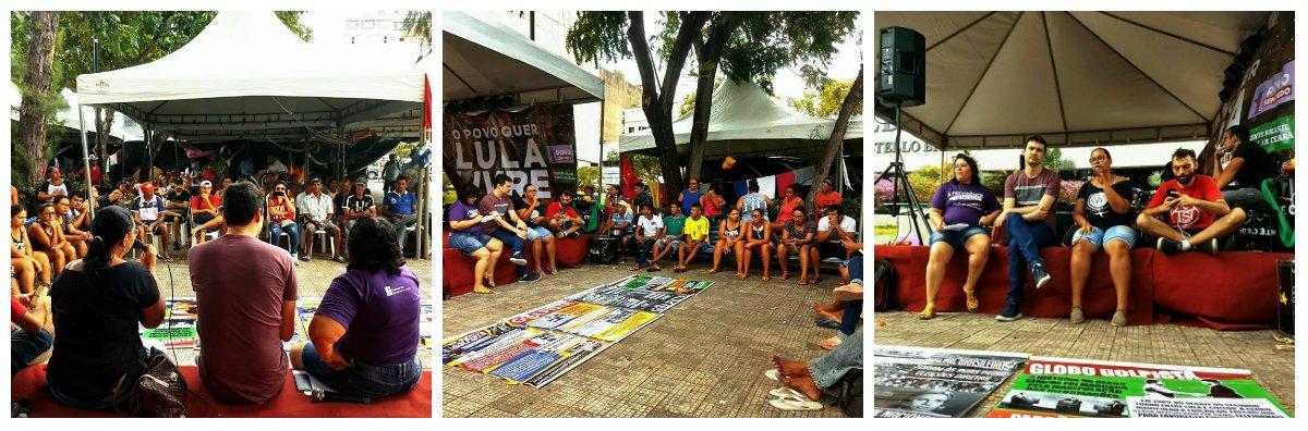 """A programação do acampamento Lula Livre, na Praça da Justiça, na manhã de hoje (13), promoveu a Aula Pública """"Mídia e Golpe"""".A atividade teve como objetivofazer uma reflexão sobre a centralidade da luta pela democratização da comunicação e o papel da mídia tradicional no golpe de 2016"""