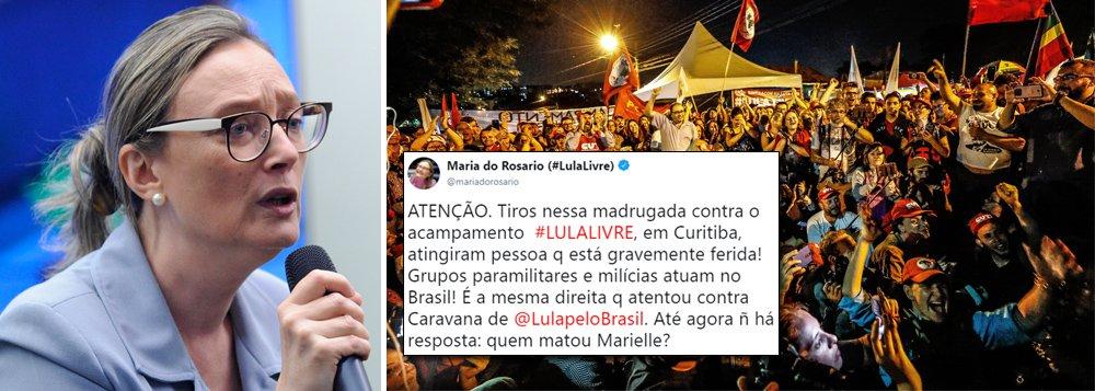 """Diante dos ataques gravíssimos ao Acampamento Marisa Letícia em Curitiba que faz vigília pela libertação do ex-presidente Lula, a deputada Maria do Rosário pergunta: """"é a mesma direita que atentou contra a caravana de Lula?""""; ela diz, em tuíte, que """"até agora não há resposta para quem matou Marielle""""; o acampamento democrático em Curitiba foi alvo de mais de 20 tiros na madrugada deste sábado; duas pessoas ficaram feridas"""
