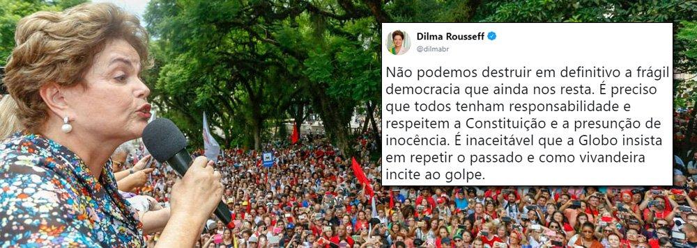 """A presidente deposta Dilma Rousseff, derrubada sem crime e substituída por um consórcio de ladrões, se manifestou sobre o chamado que a Globo fez, na noite de ontem, por um novo golpe militar no Brasil; """"Não podemos destruir em definitivo a frágil democracia que ainda nos resta. É preciso que todos tenham responsabilidade e respeitem a Constituição e a presunção de inocência. É inaceitável que a Globo insista em repetir o passado e como vivandeira incite ao golpe"""", disse Dilma pelo Twitter"""