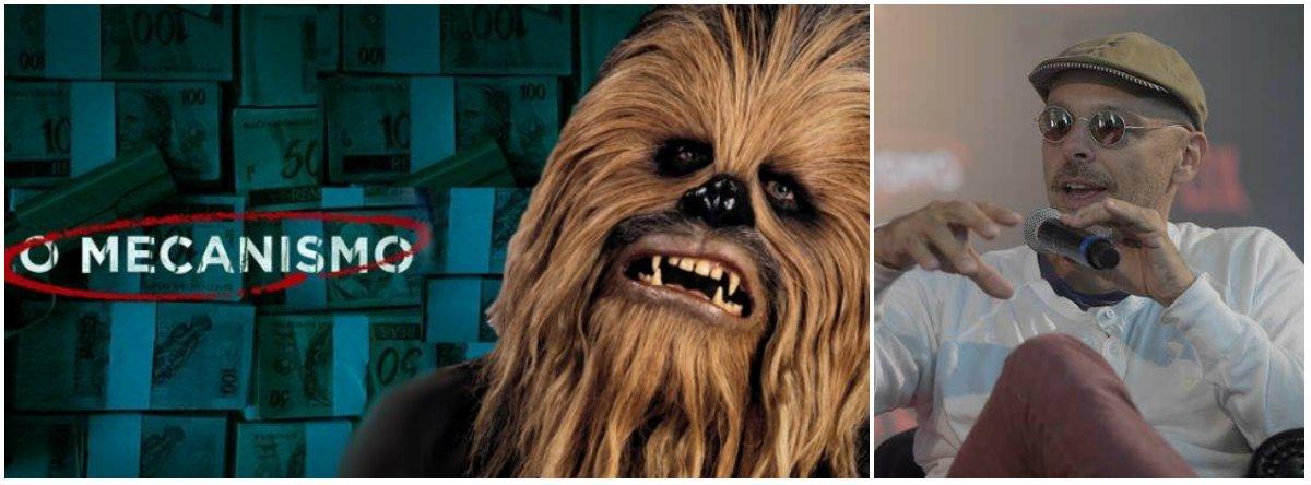 """As críticas à série da Netflix """"O Mecanismo"""", de José Padilha, que relata a Operação Lava Jato com fatos distorcidos da realidade, já provoca o compartilhamento de diversos memes contra a produção; o site O Sensacionalista foi um dos que fez piada da série, com a matéria irônica, como todas as da página: Padilha vai refilmar Star Wars com Chewbacca dizendo 'Luke, eu sou seu pai'"""