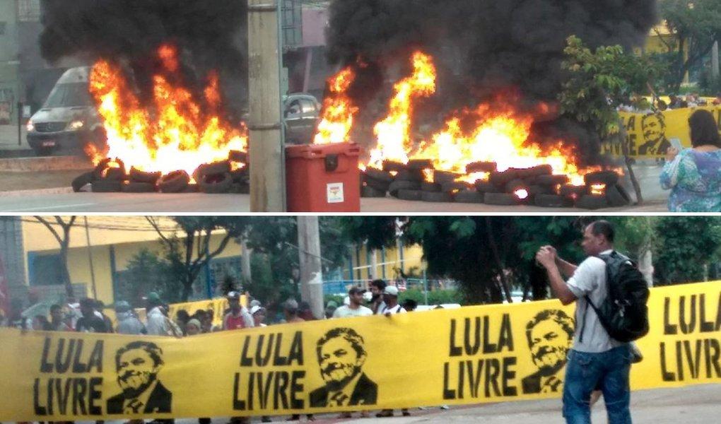 Protesto de integrantes da Frente Brasil Popular bloqueou nesta manhã as principais vias de entrada de Belo Horizonte, em protesto pela liberdade do ex-presidente Lula e pela retomada da democracia no Brasil; avenidas Nossa Senhora do Carmo, Amazonas e Antônio Carlos foram interditadas pelos manifestantes