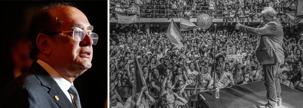 """Ao participar de evento em Portugal, o ministro Gilmar Mendes, do Supremo Tribunal Federal, sinalizou que o ex-presidente Luiz Inácio Lula da Silva ganhará seu habeas corpus na sessão desta quarta-feira na corte; segundo ele,uma eventual prisão de Lula """"mancha a imagem do Brasil""""; Gilmar também alertou que """"se alguém torce para prisão de A, precisa lembrar que depois vem B e C"""""""