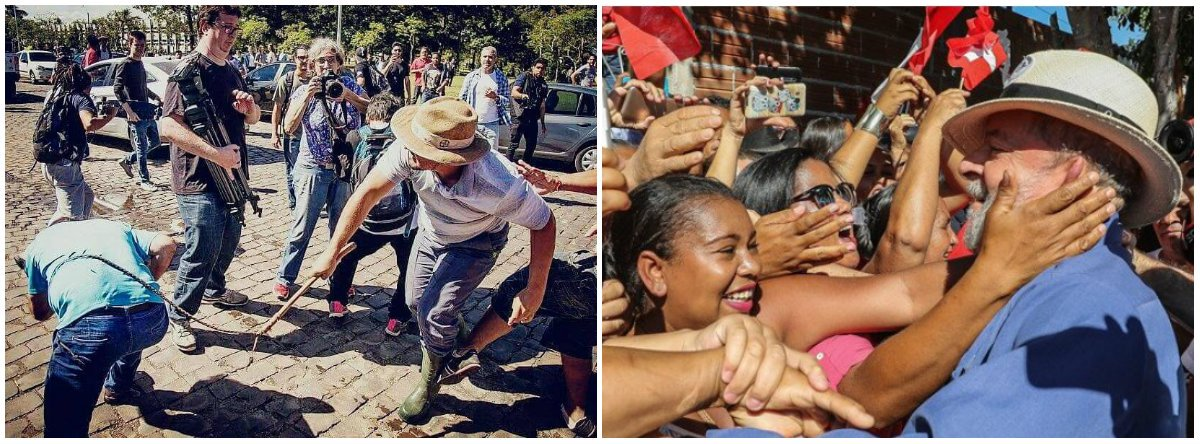 Agora, a foto do frouxo dando chicotada nas costas do apoiador do Lula é de um horror indescritível. Um verdadeiro absurdo. Vergonha mundial. Barbárie. Escrotice pura. O chicote não é apenas uma arma, é principalmente um símbolo de opressão, de preconceito, de racismo, de dominação, de poder de classe, de raiva