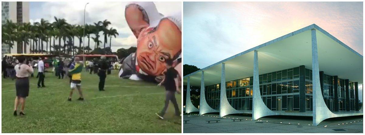 Manifestantes favoráveis e contrários à prisão do ex-presidente Lula dividiram a Praça dos Três Poderes, em Brasília, para acompanhar a votação de um habeas corpus dele no STF; PF usou spray de pimenta para conter protestos anti-Lula, por volta das 15h, antes de o processo entrar em pauta; o grupo tentava inflar um boneco de 8 metros de altura com as caricaturas do ex-presidente, do ex-ministro da Fazenda José Dirceu e do ministro do STF Gilmar Mendes