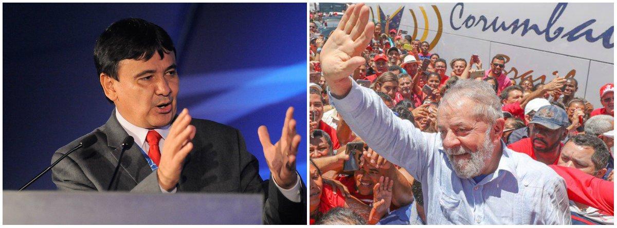 """Em vídeo; governador do Piauí, Wellington Dias, voltou a manifestar solidariedade ao ex-presidente Lula preso em Curitiba (PR) após ter tido Habeas Corpus dele negado pelo STF e condenado sem provas no processo do triplex no Guarujá (SP); após dizer que Lula é um """"preso político"""", o chefe do executivo piauiense afirmou que """"Lula livre significa defesa da democracia; é muito fácil estar perto de alguém quando ele é presidente da república. É nessa horas que forças trabalham contra um dos maiores líderes do mundo é que temos de estar juntos""""; assista"""