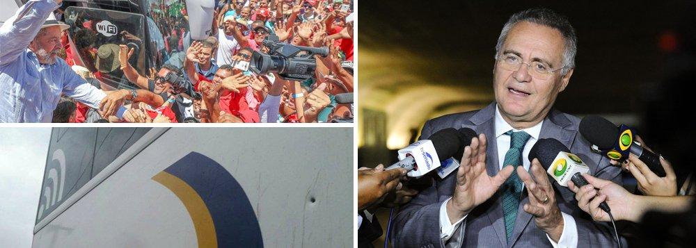 """Em vídeo, senador Renan Calheiros (PMDB-AL) afirma que os ataques de """"fanáticos"""" contra os ônibus da caravana de Lula """"envergonham o Brasil""""; """"A marca da bala no ônibus de Lula é um sinal de alerta. O que virá depois se nada for feito? Vai aparecer alguém querendo tocar fogo. O nazismo começou assim"""", lembra ele; """"O mais grave é que pessoas que deveriam ter responsabilidade com a democracia, com a paz social, fazem vista grossa e, com isso, incentivam a selvageria"""", cobra ainda o senador; assista"""