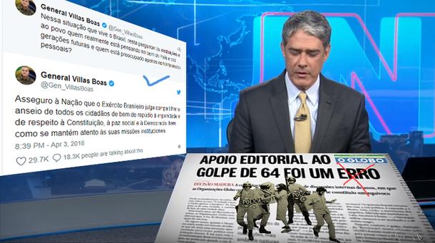 54 anos e dois dias após as Organizações Globo apoiarem o golpe de 1964 e 4 anos e 8 meses após afirmarem que concluíram que aquele apoio foi um erro, essas mesmas Organizações Globo têm uma recaída e dão um show de apoio a uma nova ruptura democrática