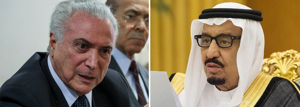 Michel Temer comemorou no twitter ter recebido telefonema de Salman Bin Abdulaziz Al Saud, Rei da Arábia Saudita e prometeu fortalecer laços com essa monarquia absolutista
