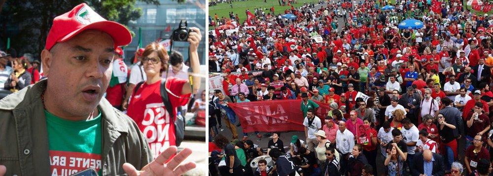 """O dirigente do MST, Alexandre Conceição, prometeu luta intensa para responder ao habeas corpus negado do ex-presidente Lula; a fala ocorreu no ato em Brasília logo após o resultado da votação do STF; Conceição evocou Martin Luther King e Marielle Franco e conclamou todos para um """"abril vermelho"""""""
