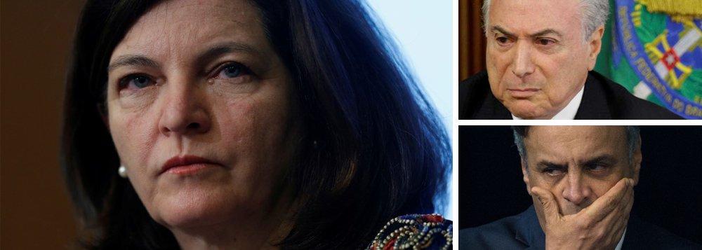 """Em nota, a Procuradoria-Geral da República (PGR), comandada por Raquel Dodge, diz que a negação do pedido dehabeas corpuspreventivo ao ex-presidente Lula pelo STf """"contribui para que ninguém esteja acima da lei""""; enquanto isso, continuam soltos Michel Temer, denunciado duas vezes por corrupção, e o senador Aécio Neves (PSDB-MG), flagrado pedindo propina para o empresário Joesley Batista, da JBS"""