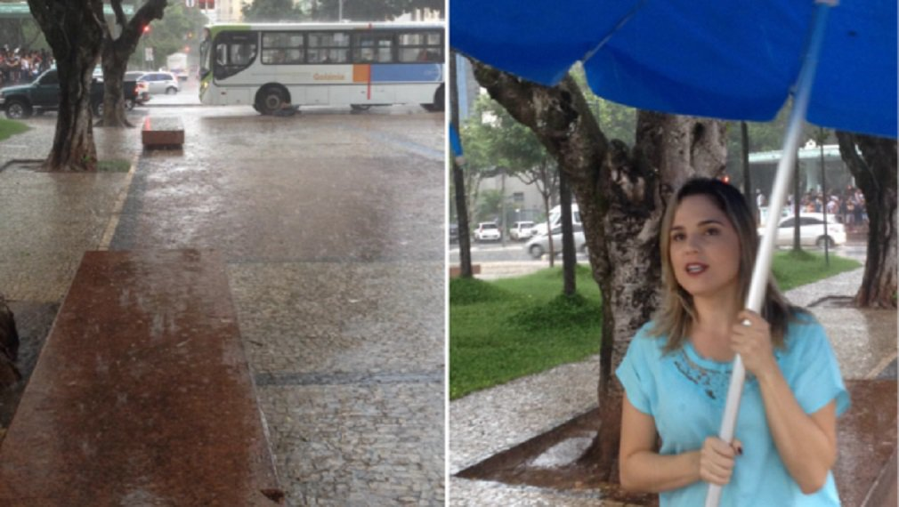 """Mesmo sob a forte chuva que caiu em Goiânia no começo da noite de sexta-feira, a nova TV Brasil Central acompanhou o ato em protesto pelo assassinato da vereadora Marielle Franco (PSol) e do motorista dela, Anderson Pedro Gomes, no Rio de Janeiro; """"Portando cartazes e bandeiras, os manifestantes querem que a morte da vereadora carioca Marielle Franco seja investigada"""", informou a jornalista Danuza Azevedo, que acompanhou o ato"""