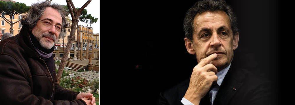 "Sarkozy, ridicularizado pelos progressistas, que o apelidaram de ""Rei Sarkô"" durante o mandato, é suspeito de ter usado dinheiro de Gaddafi para financiar sua campanha presidencial de 2007, aponta o correspondente internacional Pepe Escobar"