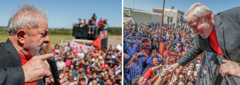 """No primeiro dia da caravana pela região Sul do País, o ex-presidente Lula visitou aUniversidade Federal do Pampa (Unipampa), inaugurada por ele em 2005, e defendeu o direito de se candidatar à presidência da República; """"Nós queremos democracia. E democracia pressupõe eleição. E se eles estão preocupados com o fato de eu ser candidato, eles podem saber que vamos ganhar"""", disse Lula; """"Eu vou visitar 26 cidades até Curitiba pra mostrar que nós queremos e sabemos cuidar desse país. Não me preocupo com quem está protestando contra, amanhã eles estarão batendo palma em sinal de aprovação ao governo que faremos nesse país"""", disse Lula sobre manifestantes contrários ao ex-presidente"""