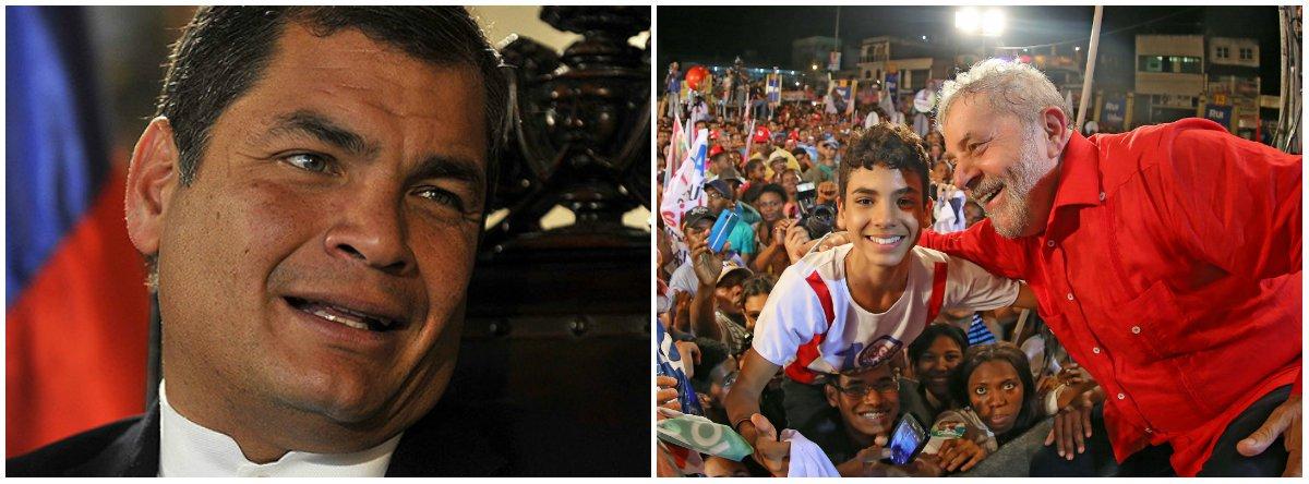 """O ex-presidente do Equador Rafael Correa manifestou solidariedade ao ex-presidente Lula condenado sem provas tanto em primeira como em segunda instância no processo envolvendo o triplex no Guarujá (SP); Correa também afirmou que, """"quanto mais escura a noite, mais próximo está o amanhecer. Pois o amanhecer está bem próximo, companheiros"""""""