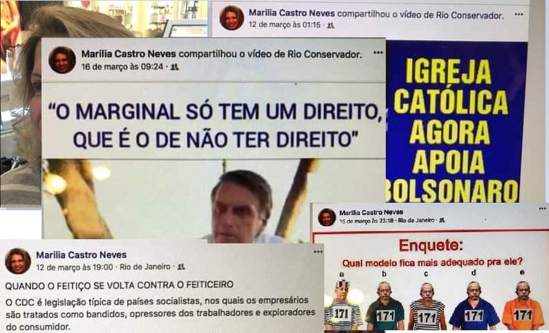 O Cafezinho teve acesso ao Facebook de Marilia Castro Neves e descobriu que a desembargadora continua proferindo barbaridades contra Marielle e seus correligionários, babando ódio contra a esquerda, caluniando, difamando, espalhando fake news e fazendo propaganda político-partidária de Jair Bolsonaro