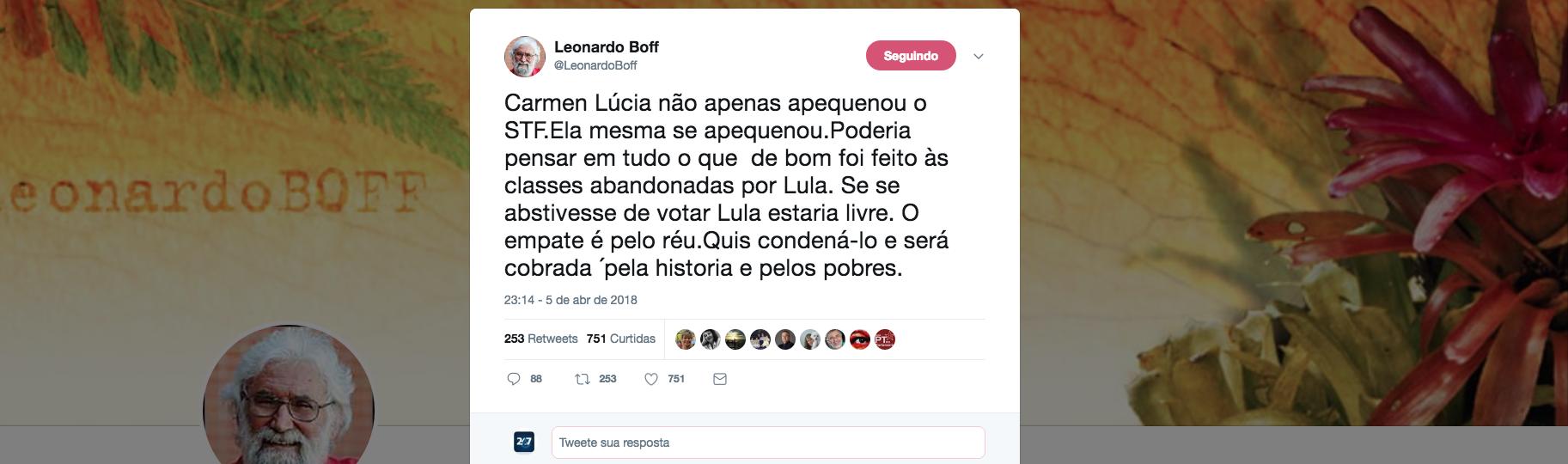 O teólogo Leonardo Boff diz que Cármen Lúcia, presidente do STF, é a responsável pela prisão ilegal do ex-presidente Lula e diz que ela será cobrada não apenas pela história, mas também pelos mais pobres, que são as principais vítimas do golpe de 2016 no Brasil, e que prossegue com a caçada a Lula