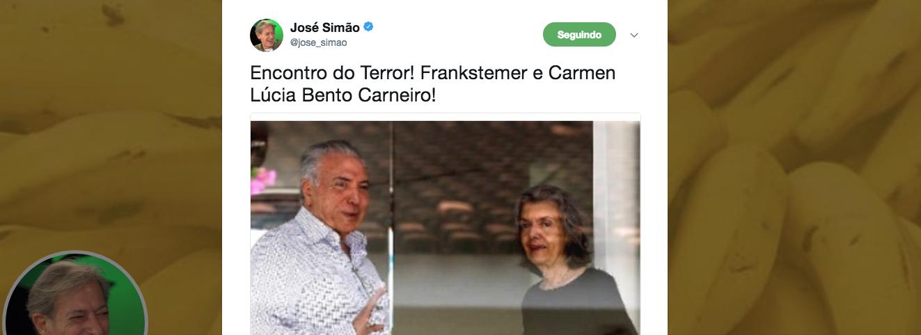 """""""Encontro do Terror! Frankstemer e Carmen Lúcia Bento Carneiro!"""", escreveu o colunista José Simão, sobre a reunião fora da agenda entre um investigado por corrupção e a presidente do Supremo Tribunal Federal"""