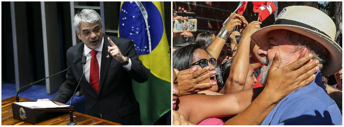 """O líder da Oposição no Senado, Humberto Costa (PT-PE), afirmou que uma eventual prisão do ex-presidente Lula se configuraria como uma violência inominável e não seria aceita sem resistência; parlamentar ressaltou a pesquisa Ibope/CNI que aponta o PT como o partido de maior preferência no eleitorado; """"Vamos usar esse capital político de que dispomos para disputar a consciência do povo neste embate e estamos certos de que conseguiremos sublevar a população numa grande corrente em todo o país contra essa anômala decisão, se ela vier a ser tomada"""""""