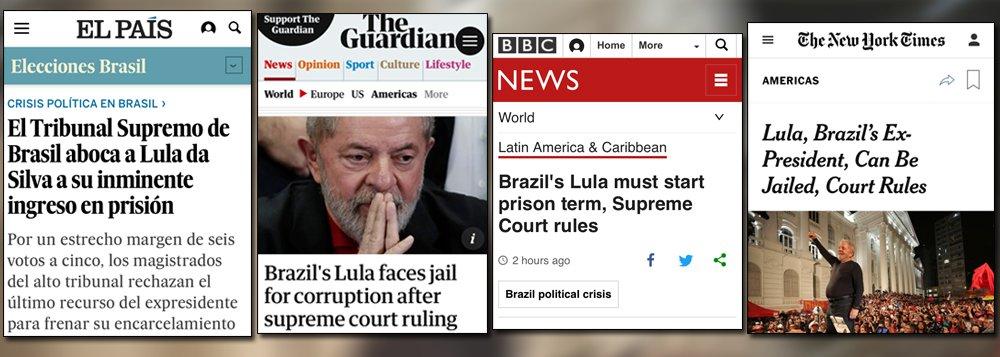 """O jornal espanhol El País destacou que o """"Brasil é o reino do imprevisível"""", enquanto o o britânico The Guardian destacou que a decisão dos ministros do STF foi marcada por """"virada extraordinária de eventos""""; o Guardian ressaltou, ainda, que Lula é """"o político mais popular do Brasil"""", tendo deixado a Presidência da República em 2010 com mais de 80% de aprovação pela população"""
