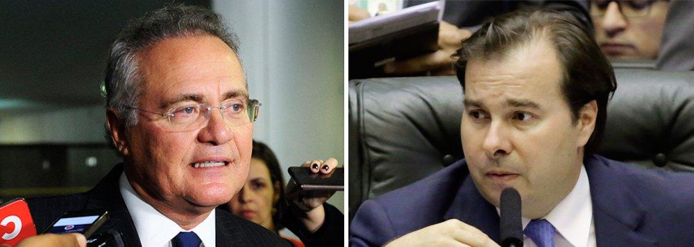 """O senador Renan Calheiros (MDB-AL) criticou o presidente da Câmara, Rodrigo Maia (DEM-RJ), por defender a flexibilização do Estatuto do Desarmamento; """"o deputado, que está pensando em ser candidato à Presidência da República, quer viabilizar o armamento da população, flexibilizando o Estatuto do Desarmamento, querendo dar uma de Bolsonaro... isso é de uma ignorância elementar!"""", disse Renan; ele também afirmou que o Senado tem problemas com a Câmara que """"não vota nada que esta Casa vota ou prioriza, sobretudo na área de segurança pública"""""""