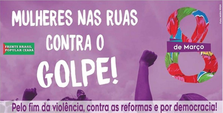 Mulheres cearenses realizam nesta quinta-feira (8), data em que se comemora o Dia Internacional da Mulher, ato unificado para promover a a igualdade de gênero, a resistência ao golpe em curso, o fim da violência contra as mulheres e das reformas que retiram os direitos dor tabalhadores, além da defesa da democracia. Sindicatos e movimentos sociais estarão reunidos a partir das 8h, na escadaria da Faculdade de Direito da UFC, em frente à Praça da Bandeira