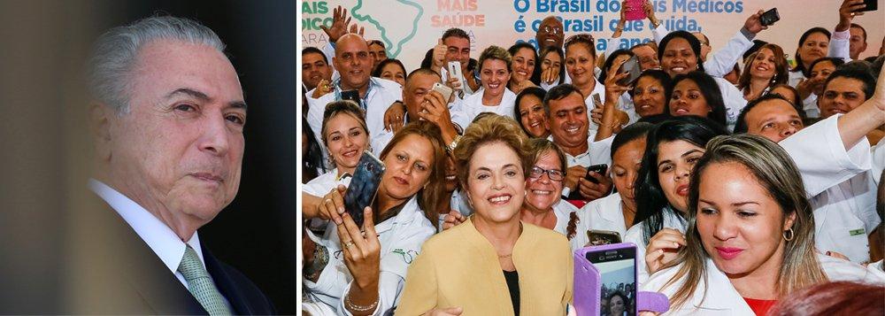 Mesmo acumulando uma série de bons resultados na ampliação do atendimento à saúde básica no Brasil, o programa Mais Médicos, criado pela presidente Dilma Rousseff em 2013 está ameaçado pelo governo de Michel Temer; no fim do ano passado, 17.584 médicos atuavam no programa, abaixo das 18,2 mil vagas oferecidas, mesma quantidade de 2015; oorçamento também estagnou, em 2018 é de R$ 3,3 bilhões, praticamente o mesmo de 2017; pesquisa da Fundação Oswaldo Cruz estima que o Mais Médicos tenha incluído mais de 60 milhões de pessoas no sistema de saúde brasileiro, especialmente nas áreas de maior vulnerabilidade social