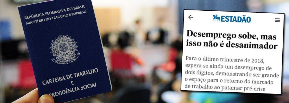 """O jornal O Estado de S. Paulo noticiou que o """"desemprego sobe, mas não é desanimador"""", mesmo com os desempregados indo a 12,2% nos três meses até janeiro e ficando maior do que o registrado no trimestre encerrado em outubro, quando a taxa foi de 11,8%; segundo o IBGE, a população desocupada atualmente no País é de 12,7 milhões e não caiu em relação ao trimestre anterior; já trabalhadores sem carteira assinada chegam a 23,2 milhões de pessoas, com alta de 4,4% em relação ao mesmo período de 2017"""