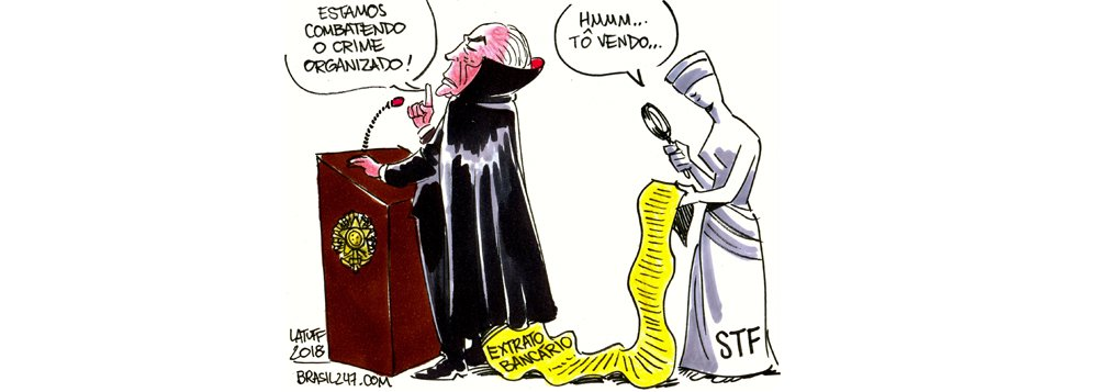 Cartunista Carlos Latuff ironiza o discurso de combate ao crime organizado propagado por Michel Temer, o primeiro presidente da história que, no exercício do cargo, teve o sigilo financeiro quebrado