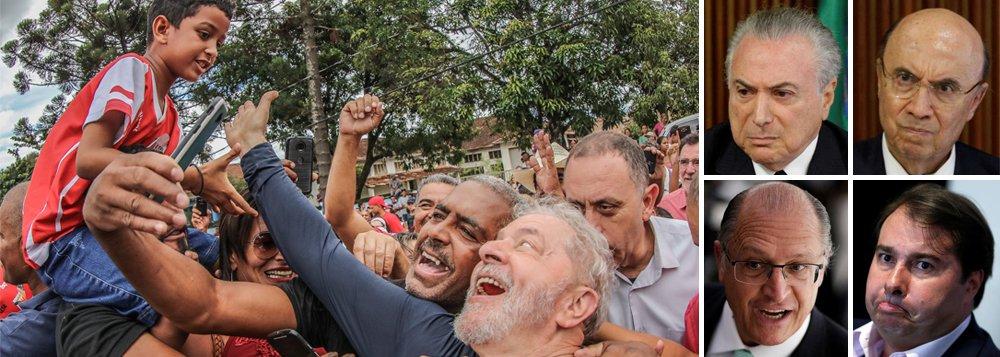 Uma nova rodada da pesquisa Ipsos, elaborada pelo jornal Estado de S. Paulo, revela a dimensão da violência que as forças golpistas estão cometendo contra o povo brasileiro; o levantamento indica que, mesmo após três anos de massacre, Lula é o político mais admirado do Brasil, com 42% de aprovação; enquanto isso, os candidatos alinhados ao golpe se mostram absolutamente inviáveis na urna; Michel Temer e Rodrigo Maia são aprovados por 4%, Henrique Meirelles por 5% e Geraldo Alckmin por 20%; dados de Lula foram omitidos na edição impressa do Estado