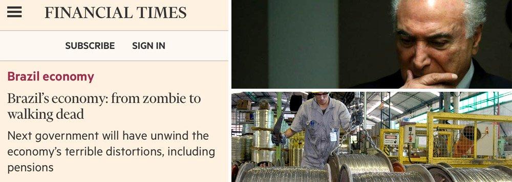 """Jornal britânico Financial Times destacou em seu site que a economia brasileira passou do status de """"zumbi a morto vivo""""; segundo o veículo de comunicação, o próximo governo terá que atuar para corrigir """"terríveis distorções"""" econômicas, o que incluiria a reforma da Previdência; matéria, que tem como base um relatório da OCDE, aponta que a estimativa de crescimento do PIB no Brasil passará de 2,2% este ano e para 2,4% em 2019 o que, de acordo com o FT, """"é uma recuperação dos mortos para uma economia que está emergindo de sua pior recessão na história e procurando pelo menos retornar ao seu tamanho anterior"""""""