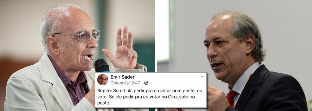 """""""Se o Lula pedir pra eu votar num poste, eu voto. Se ele pedir pra eu votar no Ciro, voto no poste"""", escreveu o sociólogo Emir Sader"""