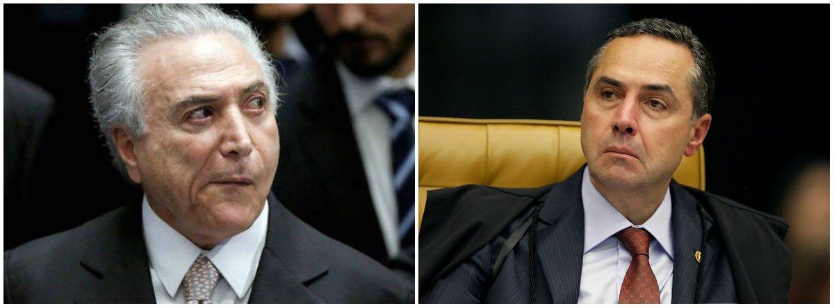 O ministro Roberto Barroso, do STF, determinou à Polícia Federal que se investigue as circunstâncias de como a defesa de Michel Temer teve acesso a dados reservados referentes à decisão que quebrou o sigilo bancário dele no chamado inquérito dos portos; o ministro determinou a inclusão em uma investigação, já aberta a pedido dele a partir de uma decisão que ele tomou no dia 27 de fevereiro, para apurar as responsabilidades cabíveis pelo vazamento