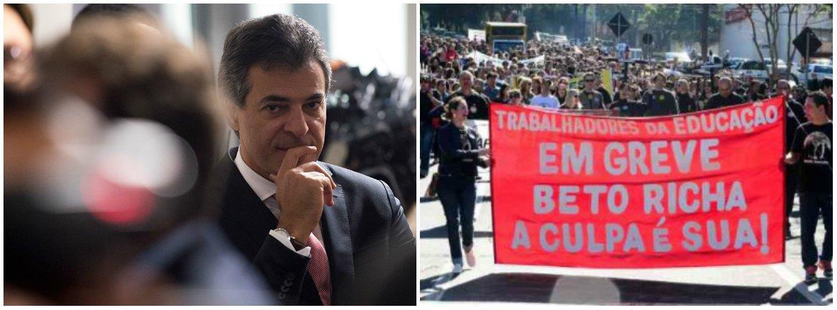 """O governador do Paraná Beto Richa (PSDB) deverá se despedir do Palácio Iguaçu (sede do governo estadual), em 1º de abril, sob mais uma greve dos 100 mil educadores distribuídos em 2,1 mil escolas; motivos é que não faltam para que ocorra a paralisação do magistério a partir de março; a APP-Sindicato marcou uma nova assembleia geral da categoria para daqui um mês, no dia 3 março, quando avaliará a deflagração do movimento por tempo indeterminado; o ano letivo de 2018 começará no dia 19 de fevereiro, mas já em """"estado de greve"""""""