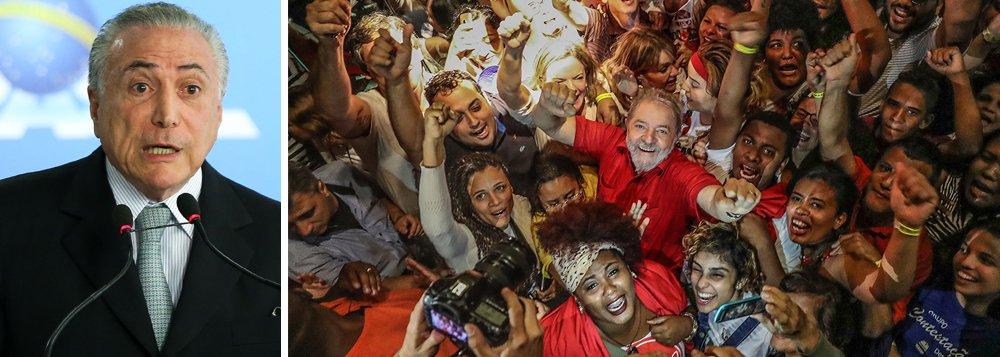 """Michel Temer afirmou que gostaria que o ex-presidente Luiz Inácio Lula da Silva disputasse as eleições de outubro e fosse derrotado no voto, alegando que uma derrota do petista nas urnas """"pacificaria"""" o país; segundo ele, o fato de Lula provavelmente ficar fora das eleições por ter sido condenado em segunda instância por corrupção e lavagem de dinheiro """"tensiona"""" o país; o emedebista disse, ainda, que está satisfeito com o que tem feito em seu governo, mas que deseja ter um candidato para defender o seu legado nas eleições"""
