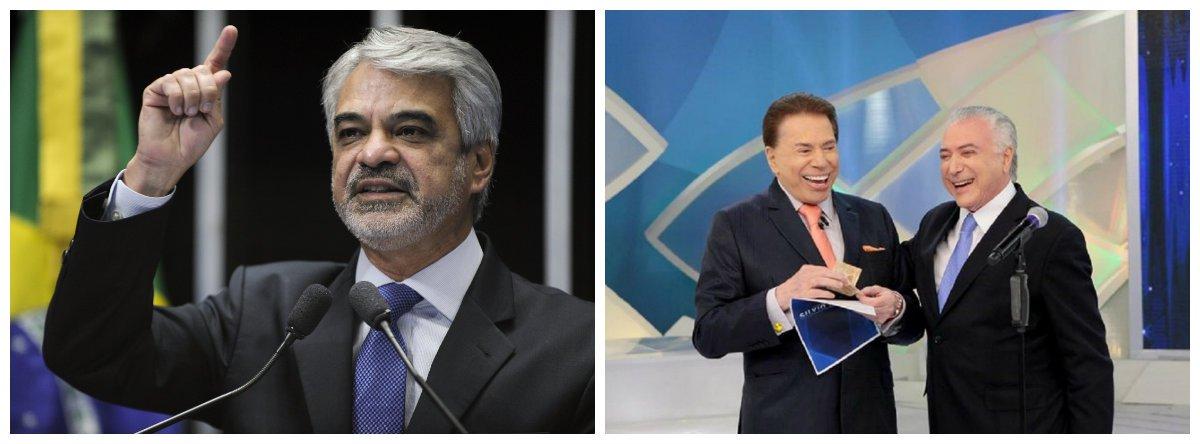 Senador Humberto Costa (PT-PE), Michel Temer e apresentador e dono do SBT Silvio Santos 2
