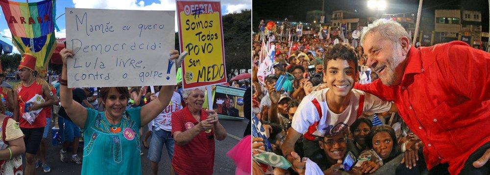 """A deputada federal Erica Kokay (PT-DF) pediu no Twitter democracia e que o ex-presidente Lula não seja preso; """"Mamãe eu quero democracia. Lula Livre! Não ao golpe dentro do golpe"""", protestou a parlamentar ao participar do bloco Pacotão, em Brasília; o ex-presidente foi condenado sem provas tanto em primeira instância, pelo juiz federal Sergio Moro, como na segunda, pelo TRF4"""