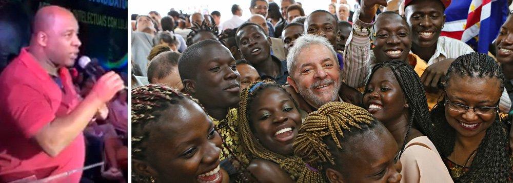 """O ator Ailton Graça fez um desempenho emocionante no encontro do ex-presidente Luiz Inácio Lula da Silva com artistas e intelectuais; """"Pela primeira vez, eu vi uma pessoa semeando esperança no coração da gente preta"""", disse ele; Graça relata que, depois de Lula, viu muitos negros se formando em universidades e se tornando bons cidadãos; """"É isso que eu não quero perder""""; líder em todas as pesquisas de intenção de voto, Lula pode ser impedido de disputar as próximas eleições presidenciais em razão de um processo judicial que atende à Globo, a partidos de direita e ao Departamento de Estado do governo norte-americano, que tem interesse na entrega de riquezas como o pré-sal"""