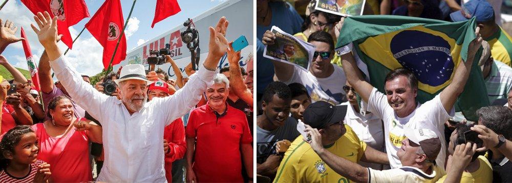 Ex-presidente Lula e o deputado Jair Bolsonaro estão isolados no cenário de disputa presidencial em 2018, de acordo com o último levantamento realizado no ano, pelo Instituto Paraná Pesquisas; Lula aparece na frente, com 29,2% das intenções de voto, e Bolsonaro em segundo, com 21,1%; os dois iriam tranquilamente para o segundo turno, com um terceiro nome ainda indefinido na corrida eleitoral; outros cinco nomes que já se apresentaram como pré-candidatos oscilam entre3,5% e 8,6%
