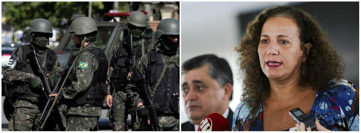 """A deputada federal Jandira Feghali (PCdob-RJ) criticou a intervenção militar federal na segurança pública do Rio; """"Quantos civis e inocentes poderão, a partir de uma truculência, serem assassinados dentro das favelas, das comunidades ou nas ruas. Tenho muito medo por estas comunidades que já estão sendo assassinadas sem uma apuração correta, tendo suas casas invadidas"""", disse a parlamentar"""