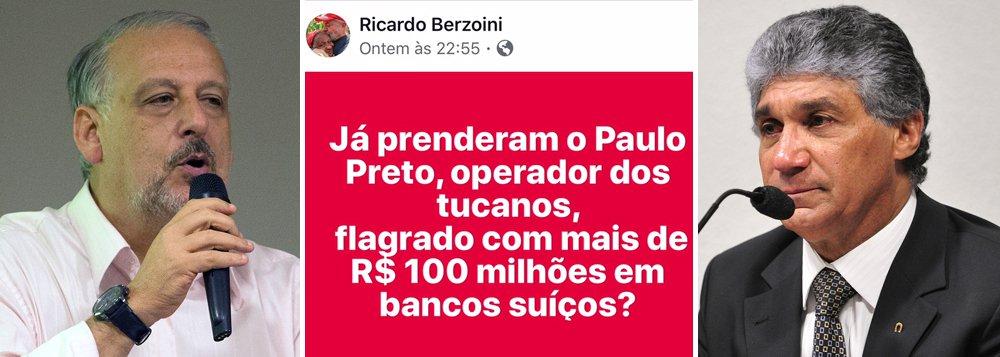 """O ex-ministro Ricardo Berzoini ironizou a blindagem do tesoureiro do PSDB, Paulo Vieira de Souza, conhecido como Paulo Preto e flagrado com mais de R$ 100 milhões na Suíça; """"já prenderam?"""", questionou"""
