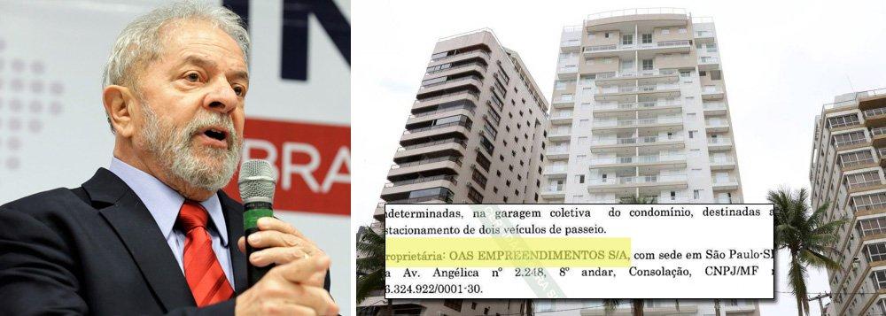 """Documento registrado no Cartório de Registro de Imóveis do Guarujá comprova: a empresa OAS Empreendimentos é a dona do famoso tríplex do Guarujá; é o que mostra documento divulgado pela defesa do ex-presidente Lula; """"A OAS Empreendimentos, construtora do prédio, é dona de todas unidades não-vendidas. O apartamento 164, conhecido como """"triplex do Guarujá"""" não é o único pertencente à OAS, há outra unidade na mesma situação"""", enfatiza o texto divulgado junto ao documento"""