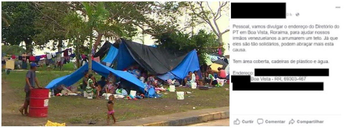 """Internautas lançaram uma campanha na internet sugerindo que a população divulgue o endereço do Diretório do PT em Boa Vista, capital de Roraima, com o objetivo de abrigar os imigrantes venezuelanos. Outra """"campanha"""" sugere que os militantes do partido conversem com os refugiados"""