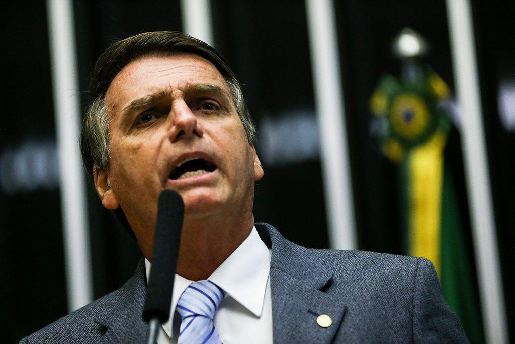 Brasília - Deputado Jair Bolsonaro discursa durante sessão para eleição do presidente da Câmara dos Deputados e demais membros da mesa diretora (Marcelo Camargo/Agência Brasil)