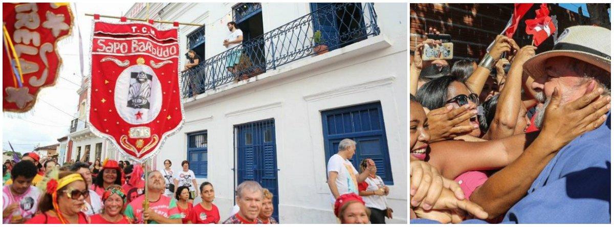 """""""Nossa troça tá na rua. Vem pra fazer a festa popular. É a Troça do Sapo Barbudo. Que o Moro vai ter que engolir.Queremos justiça sem perseguição. A soberania da nossa nação""""; os versos são da troça do Sapo Barbudo, que fez sucesso em Olinda neste final de semana, no dia nacional demobilização em defesa da democracia e do direito do ex-presidente Lula de ser candidato"""
