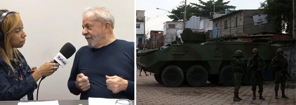 """O ex-presidente Lula, que está em Belo Horizonte nesta quarta-feira, 21, atacou a intervenção militar no Rio e disse que a atuação do Exército nas favelas cariocas é inadequada; """"As nossas Forças Armadas não foram preparadas para isso. Tenho uma preocupação porque sei que esse é um tema que mexe com todos os brasileiros, sobretudo os mais pobres"""", disse ele em entrevista à rádio Itatiaia; para Lula, a ação do governo é uma """"pirotecnia""""; """"Eu temo que essa intervenção no Rio de Janeiro seja uma coisa de pirotecnia, de interesse político. O Temer sabe que o que tirou a Reforma da Previdência da pauta foi a pesquisa dizendo que os deputados não iriam votar"""""""