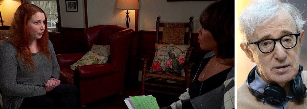 """Dylan Farrow, a filha adotiva do cineastaWoody Allen, denunciou ter sofrido abuso sexual do pai quando ela tinha sete anos; """"Espero que alguém acredite em mim em vez de só ouvir. Por que não deveria me sentir ultrajada depois de tantos anos sendo ignorada? Tudo que posso fazer é dizer a verdade"""", afirmou ela durante entrevista foi concedida ao noticiário """"This Morning"""""""